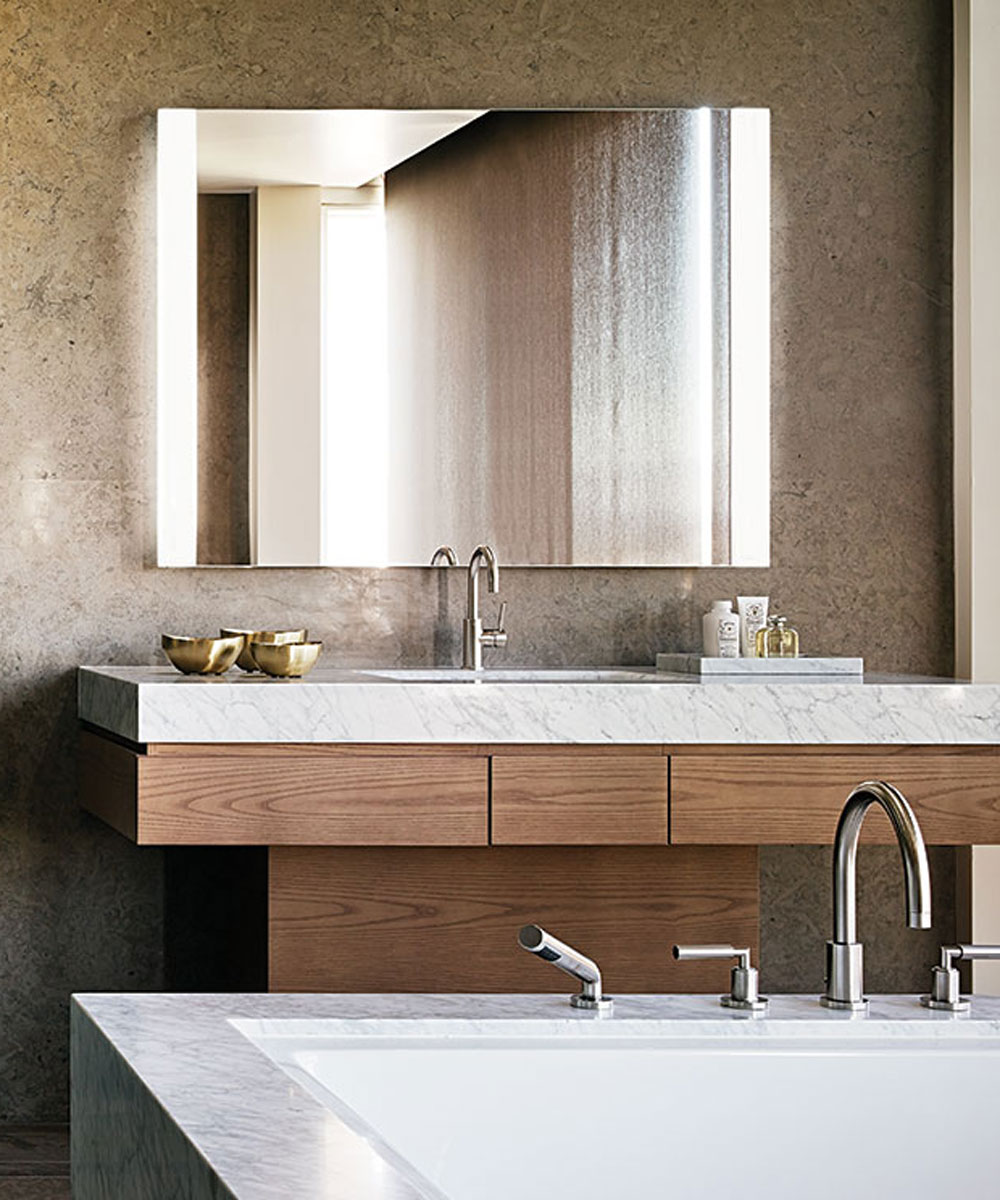 Novo Lighted Mirror at the Beverly West Residences designer Lisa Garriss close. Novo Lighted Mirror   Electric Mirror