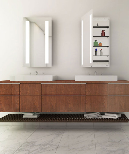 Ascension Mirrored Cabinet-with wood vanity