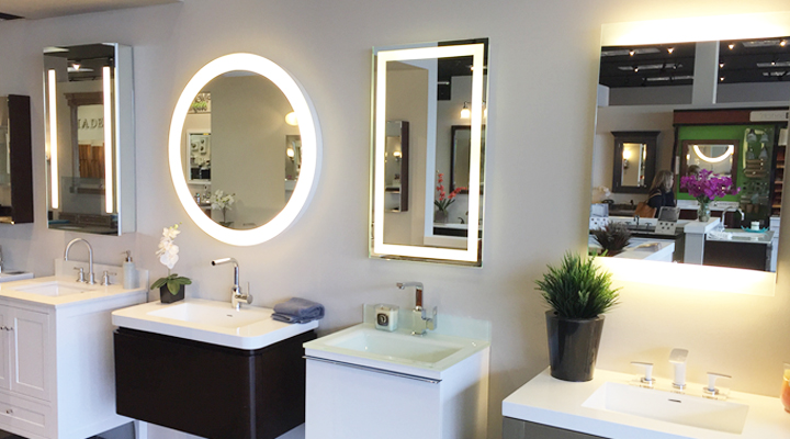 Lighted Mirrors and Mirrored Cabinet at Studio41