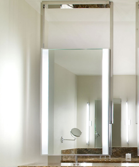 Element Lighted Mirror in Canyon Ranch SpaClub in Las Vegas closeup