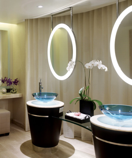Elite Lighted Mirror with pedestals and glass sinks