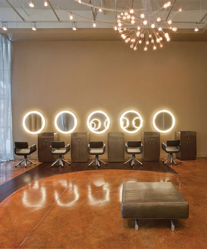 Eternity Lighted Mirror at the James Madision Salon in Atlanta Georgia wide