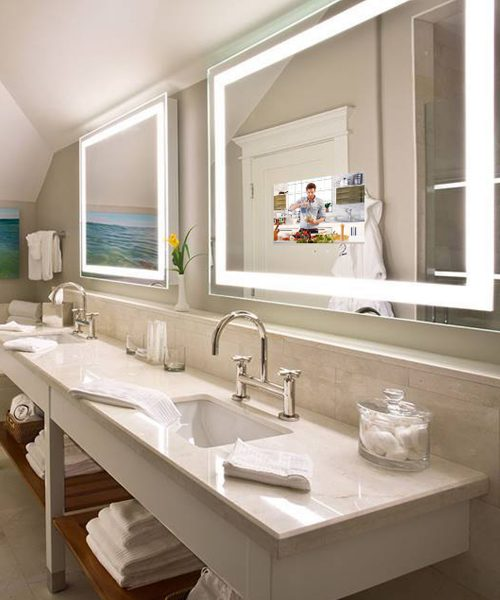 Integrity Lighted Mirror and Lighted Mirror TV at the Pearl on Rosemary Beach Florida