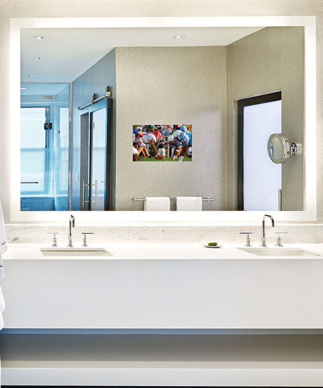 Silhouette Lighted Mirror TV in hotel