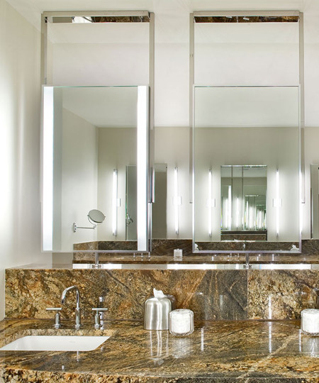 Two Element Lighted Mirrors in Canyon Ranch SpaClub in Las Vegas