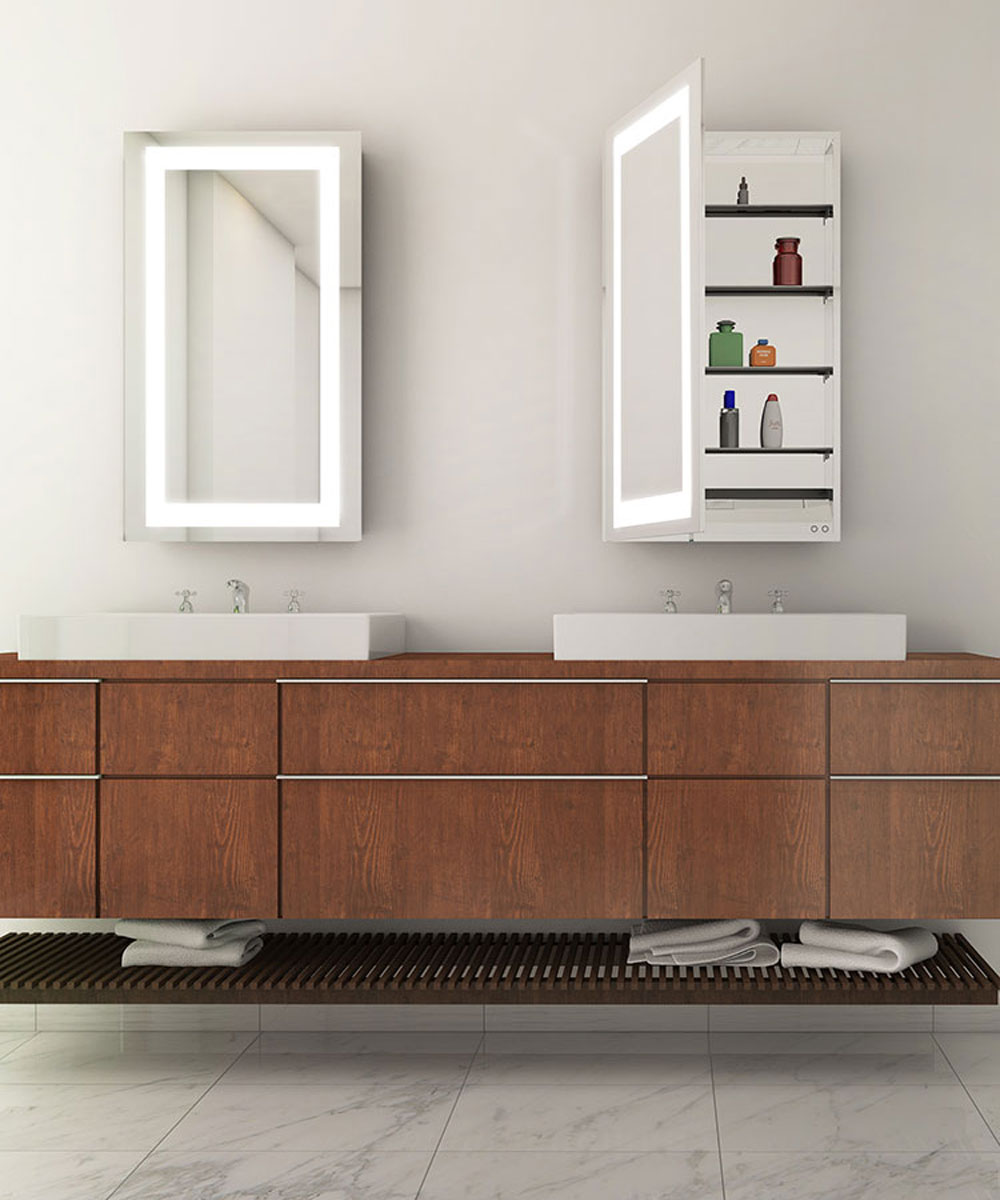 Ambiance Mirrored Cabinet with wood vanity