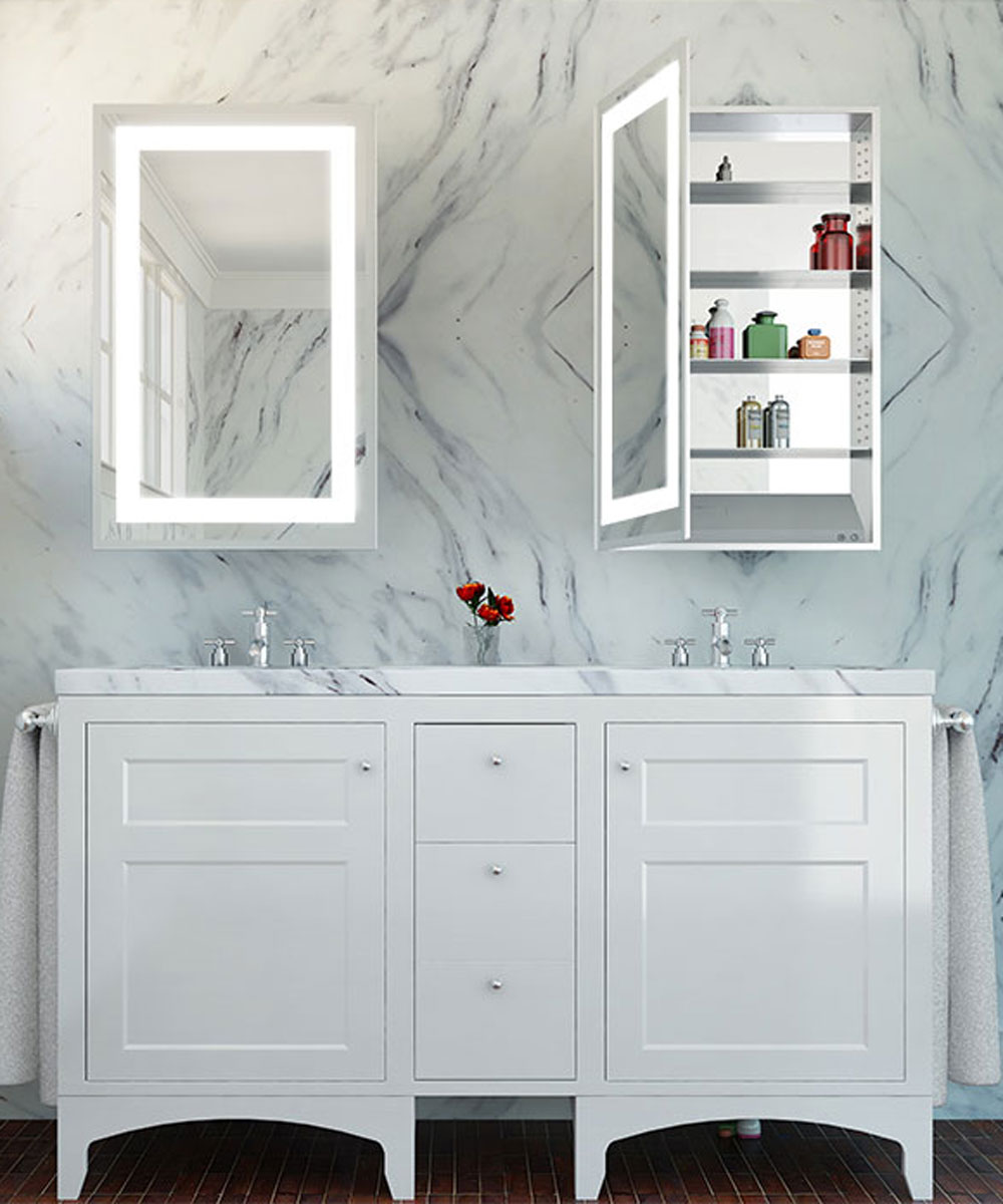 Ambiance Mirrored Cabinet marble background
