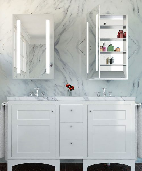 Ascension Mirrored Cabinet-with marble background