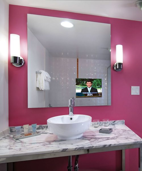 Loft Bathroom Mirror TV at the Flamingo Las Vegas