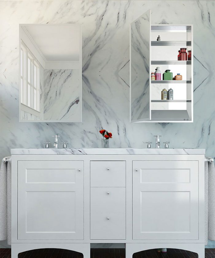 Simplicity Mirrored Cabinet-marble background