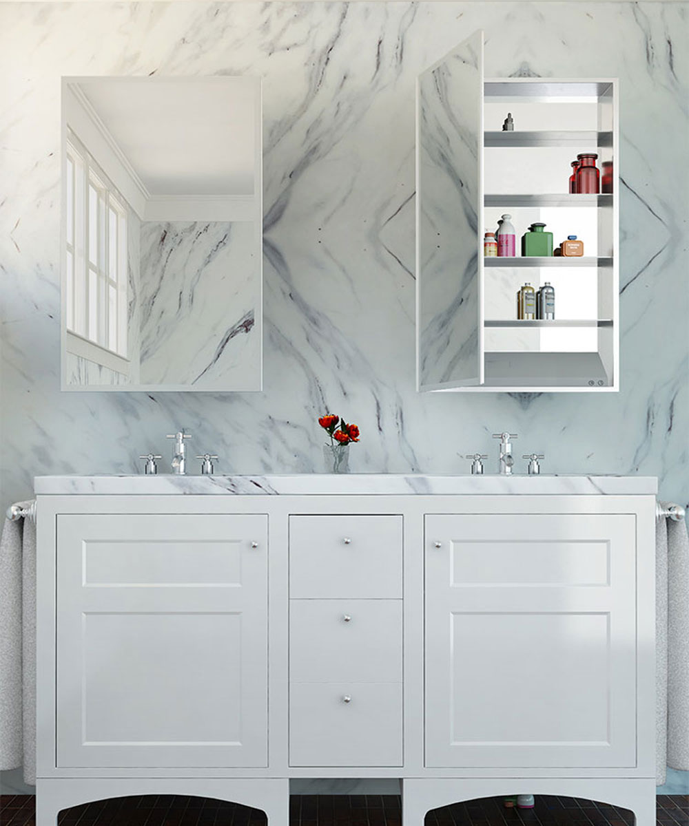 Simplicity Mirrored Cabinet Marble Background