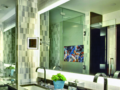 Electric Mirror also has a whole line of Lighted Mirrors and Lighted Mirror TVs. The Ritz Carlton in Los Angeles chose the Silhouette Lighted Mirror TV.