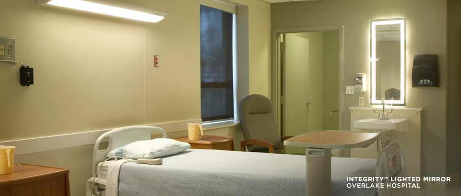 Electric Mirror healthcare projects Integrity Lighted Mirror at Overlake Hospital