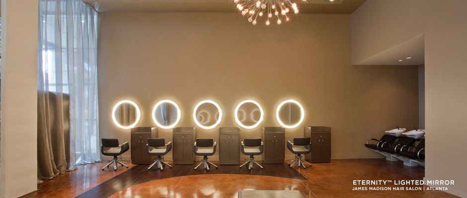 Electric Mirror salon and spa projects Eternity Lighted Mirrors at James Madison Hair Salon