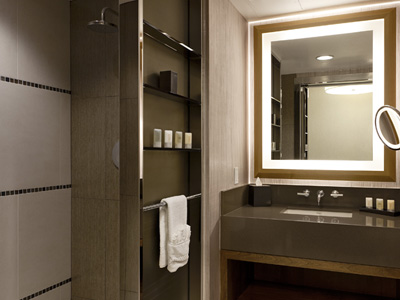 Momentum Lighted Mirror and Makeup Mirror by Electric Mirror at the Chumash Hotel