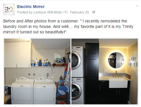 Trinity Lighted Mirror in laundry room remodel