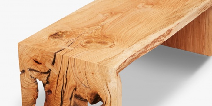 Closeup of the beautiful texture of a 45L x 22W x 15H Oak coffee table by Urban Hardwoods.