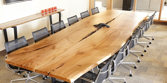 Conference table with character in commercial office