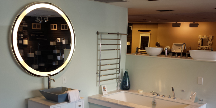 Eternity Lighted Mirror at Best Plumbing Showroom in Seattle.