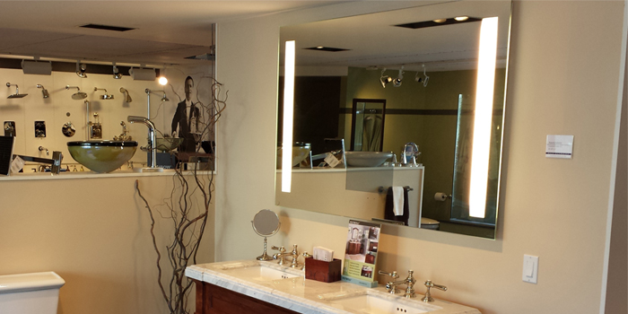 Fusion Lighted Mirror at Best Plumbing Showroom in Seattle.