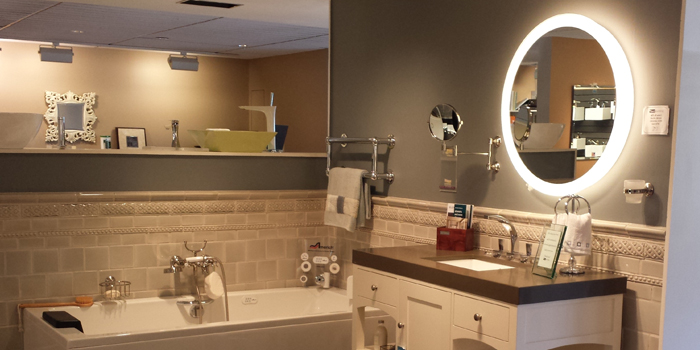 Trinity Lighted Mirror at Best Plumbing Showroom in Seattle.