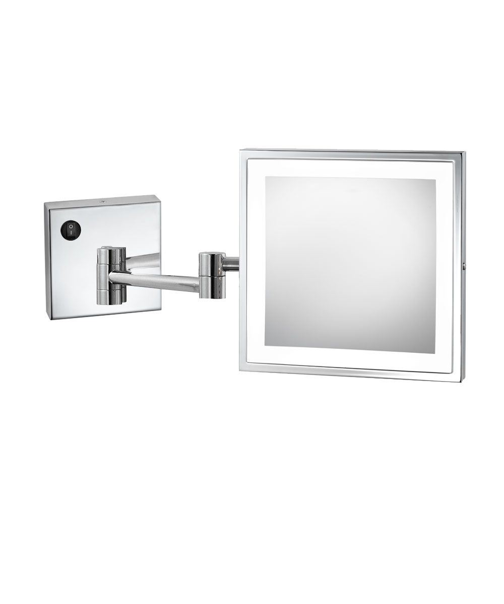 Wall mounted makeup mirror square 3x in wall mirrors - Elixir Emhl 88 Sil