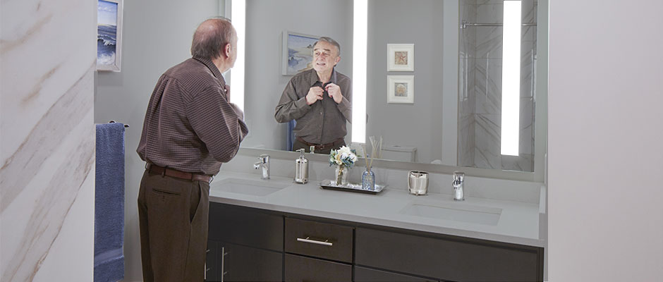 Gentleman with a Triple Fusion Lighted Mirror