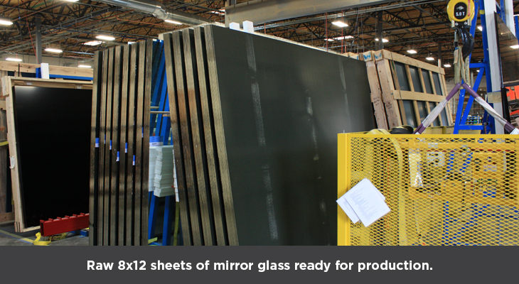 Raw 8x12 sheets of mirror glass ready for production
