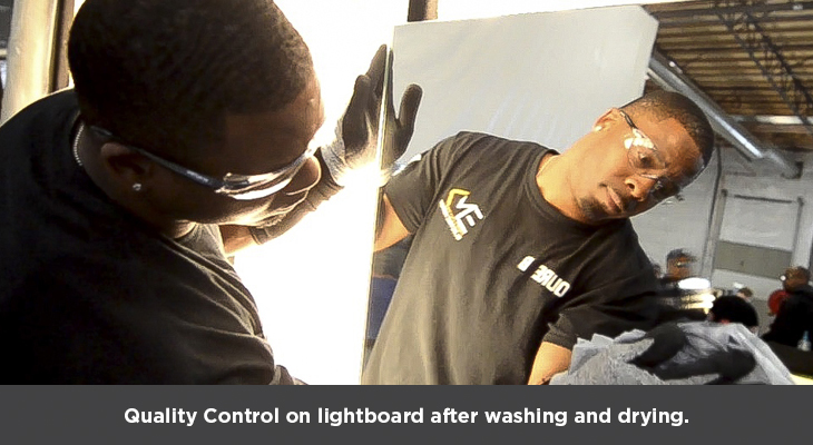Quality Control on lightboard after washing and drying