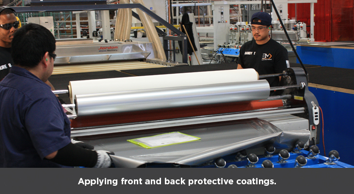 Appplying front and back protective coatings