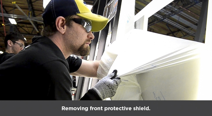 Removing front protective shield