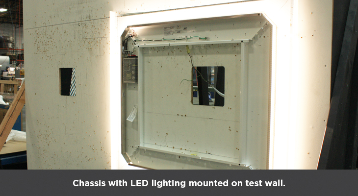 Chassis with LED Lighting mounted on test wall