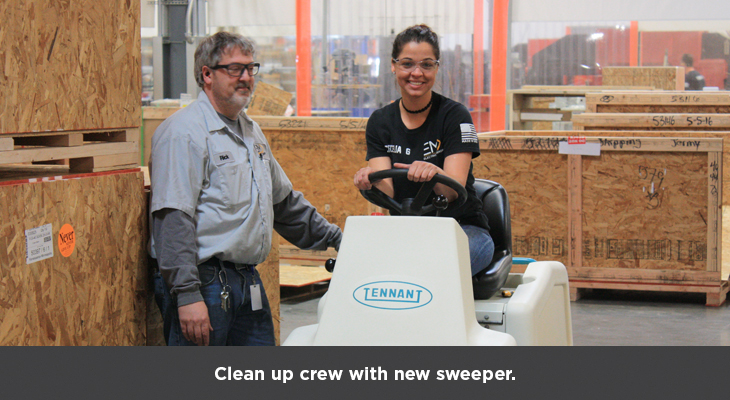 Clean up crew with new sweeper