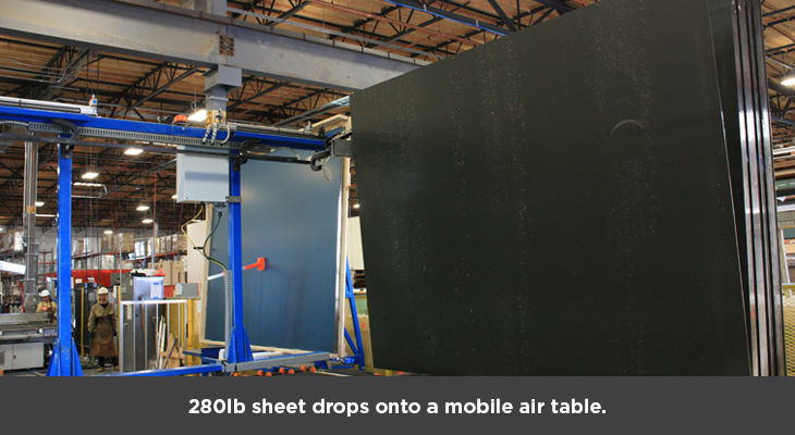 280lb sheet drops onto a mobile air table