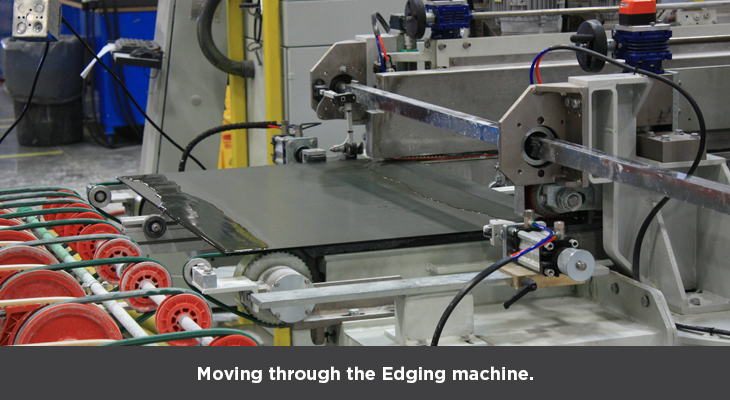 Moving through the Edging machine