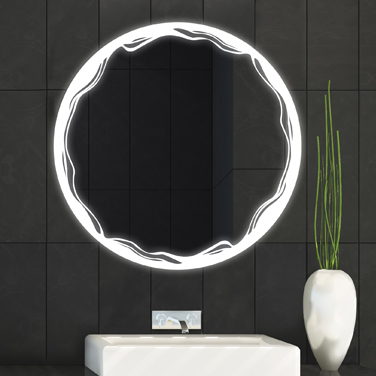 Unique lighted mirrors with laser design