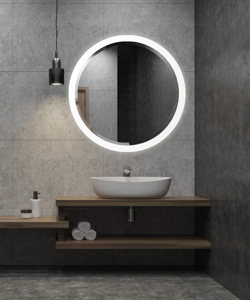 Crown Round Bevel Mirror