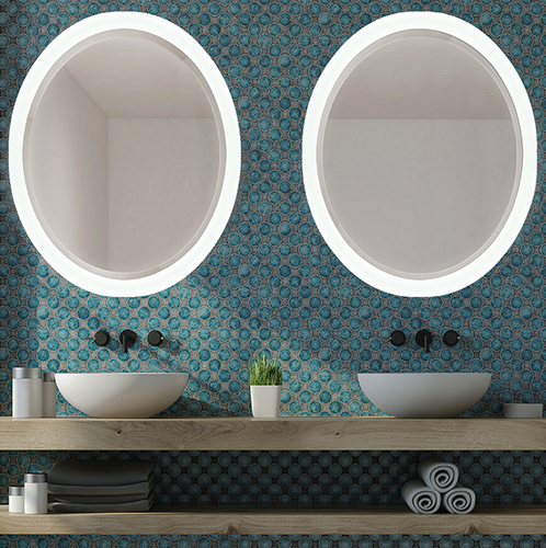 Crown Led Round Lighted Mirror Bevel Collection