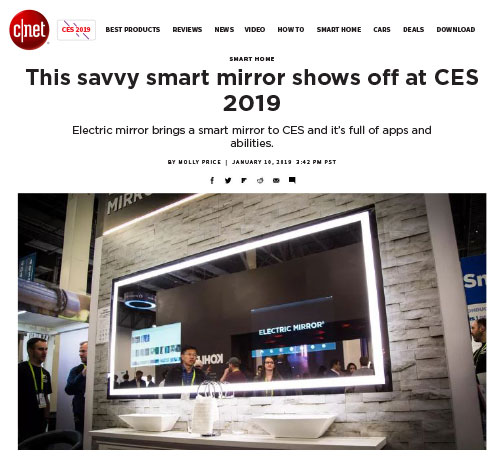 CNet's article about Electric Mirror's Savvy Home smart mirror at the CES show