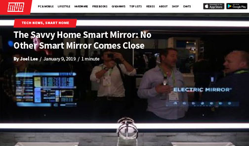 MOU's article about Electric Mirror's Savvy Home smart mirror at the CES show