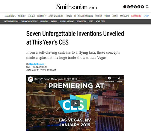Smithsonian's article about Electric Mirror's Savvy Home smart mirror at the CES show