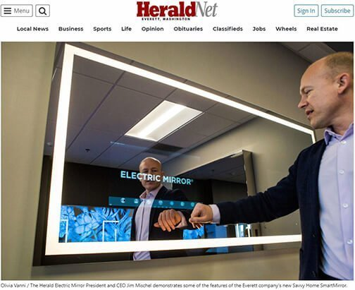 Everett's Herald Net newspaper showcases Electric Mirror's Savvy Home smart mirror for home consumers