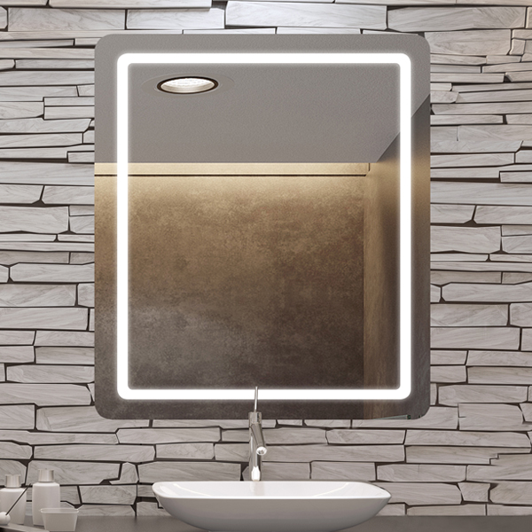 Aria lighted mirror on stone wall